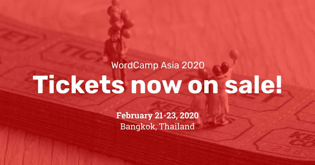 The first batch of WordCamp Asia 2020 tickets is now on sale